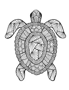 Turtle Coloring Pages, Easy Coloring Pages, Printable Adult Coloring Pages, Mandala Coloring Pages, Animal Coloring Pages, Coloring Pages To Print, Coloring Books, Coloring Pages For Adults, Pattern Coloring Pages