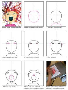 """This Scream art project combines Edvard Munch's """"The Scream"""" face with some blow paint fun for all kinds of expressionist possibilities. Art Lessons For Kids, Art Activities For Kids, Art Lessons Elementary, Art For Kids, Classroom Art Projects, Cool Art Projects, Art Classroom, Scream Art, Classe D'art"""