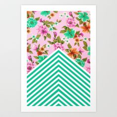 Tropical Floral Chevron Art Print by Zeke Tucker - $17.68
