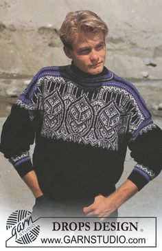 Men - Free knitting patterns and crochet patterns by DROPS Design Hand Knitted Sweaters, Sweater Knitting Patterns, Knitting Charts, Free Knitting, Crochet Patterns, Drops Design, Handgestrickte Pullover, Magazine Drops, Jumper