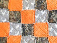 realtree camo baby blanket buck deer orange rag quilt throw