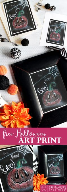 Download this free halloween chalk art print for your ghoulish gallery wall! Add to your Halloween decor with this free printable!