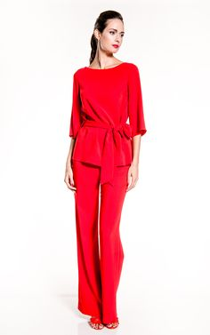 NATAN | Summer - Spring 2015 | Natan Collection | look | red crepe trouser with a red crepe top