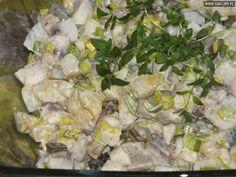 Ananasowe śledzie Appetizer Salads, Appetizers, Seafood Salad, Potato Salad, Curry, Menu, Fish, Chicken, Cooking