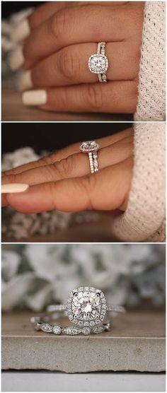 1.20ct Moissanite Engagement Ring, Cushion 7mm Moissanite 14k White Gold and Diamond Ring, Diamond Half Eternity Milgrain Band, Promise Ring