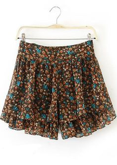 Khaki Floral Chiffon Loose Shorts - Sheinside.com
