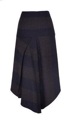 This asymmetrical skirt with a front drape features combines a harmony of the season's trends. Wear this striped look head-to-toe with the coordinating V-neck, or pair it with your favorite neutral knits for an effortlessly cool look. Hidden zip closure at back. Unlined.Fabrication: 48% Virgin Wool, 50% Polyester, 2% Elastane. Dry Clean Only. Styled with Rib Knit Funnel Neck Tunic Style Number: TF115HSF53950 Available in: Navy/Grey Multi