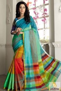 Lime and multi color cotton saree with blouse material. This latest fabulous casual daily wear saree online shopping with reasonable price. shop this saree for housewives. #saree, #casualsaree more: http://www.pavitraa.in/store/casual-saree/