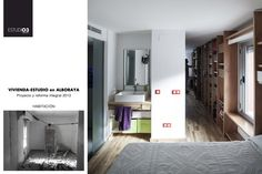 El ANTES y el DESPUÉS de la habitación_Eo3 Arquitectos Vista también del acceso de la ducha. Estantería diseñada por nuestro estudio