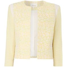 Linea Primrose animal edge to edge jacket (£60) ❤ liked on Polyvore featuring outerwear, jackets, blazers, yellow, clearance, animal jackets, beige jacket, 3/4 sleeve jacket, metallic jacket and yellow jacket