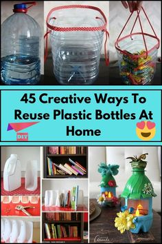 Reuse Plastic Containers, Plastic Container Crafts, Plastic Bottle Crafts, Diy Bottle, Recycled Art Projects, Recycled Crafts, Diy Home Crafts, Diy Crafts For Kids, Billy Regal