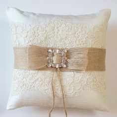 Wedding Ring Pillow in Silk with Alencon Lace, Burlap Ribbon and Rhinestone Detail - The MEGAN Pillow. $54.50, via Etsy.