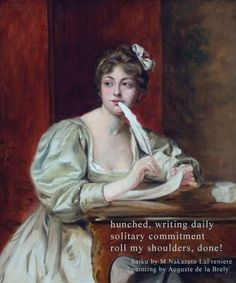haiku by M. Nakazato LaFreniere, #haiku, #senryu, daily post, haiku, senryu, poem, poetry, painting by  Auguste de le Brely (1838-1906), http://cactushaiku.com/daily-haiku-senryu-solitary/
