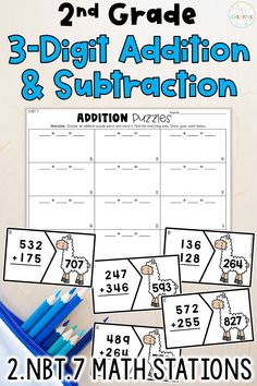 Practice 3-digit addition with regrouping and 3-digit subtraction with regrouping with these math centers! They align with 2nd grade Common Core standard 2.NBT.7 for students to work on three digit addition and subtraction. They consist of puzzles, games, task cards, and more! They are designed for you to use in your math centers and rotations. Included are 5 different math stations for 3-digit addition and subtraction. Get your 2nd grade addition and subtraction activities today!