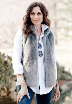 Shop our line of women's faux fur vests available in a variety of lengths with zip and hook closures and featuring a wide array of colors and animal prints. Mink Vest, Cool Outfits, Fashion Outfits, Fashion Styles, Fabulous Furs, Hooded Vest, Faux Fur Vests, Plus Size, Clothes
