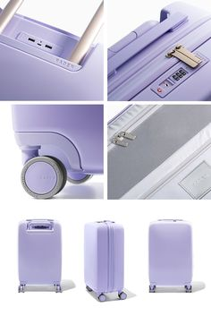 """Light Purple (Gloss) • 22""""/14""""/9"""" • Weigh. Locate. Charge. Luxury Luggage, Travel Luggage, Travel Bags, Travel Items, Cute Luggage, Luggage Bags, Cute Suitcases, Travel Supplies, Trolley Bags"""