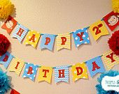 Curious George Birthday Happy Birthday Banner / Curious George Birthday Party - FILE to PRINT