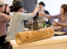 Beautiful Japanese bamboo speakers let you to listen to music without using any extra electricity.
