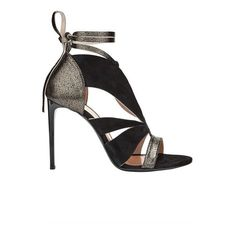 Roland Mouret Momo Shoes (715 CAD) ❤ liked on Polyvore featuring shoes, sandals, black, black stiletto sandals, high heel stilettos, strappy leather sandals, black sandals and strappy sandals