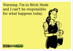 Warning: I'm in Bitch Mode and I can't be responsiblefor what happens today.