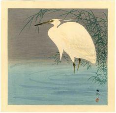 Ohara Koson - Little egret wading