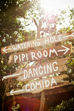 """which way sign post for vintage, rustic wedding. """"pipi room"""" is great!"""