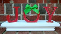 J O Y Handpainted Free Standing Wooden Letters Set by BubbaAndLucy