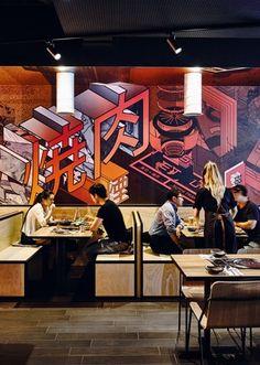 Japanese Restaurant Interior, Restaurant Interiors, Restaurant Design, Barbecue Design, Barbecue Grill, Ramen Bar, Grilling Sides, Chin Chin, Japanese Kitchen