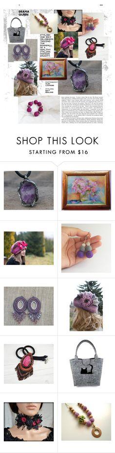 purple inspirations from etsy - poletsy by iwona-sikorska on Polyvore #purpleearrings #purplenecklace #purpleoilpaint #purpleflowercap #pinkbeadednecklace #feltedearrings #beadedearrings #feltedbag #feltedjewelry #amethystnecklace