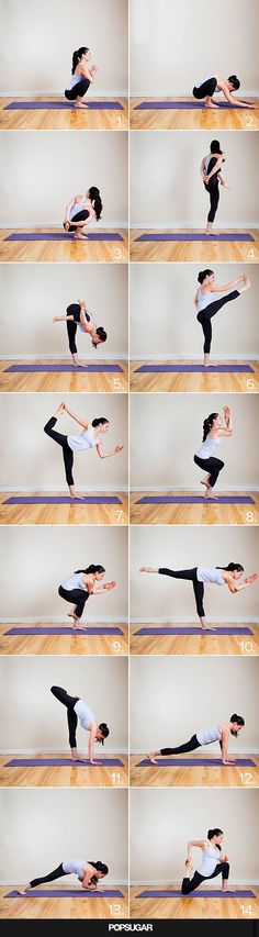 Whether sporting leggings with sneaks or high heels, here's a 14-pose yoga sequence to make your tight pants proud.