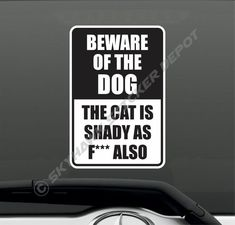 Funny Beware Of Dog Crazy Cat Sticker Joke Prank Window Warning Sign Sticker Gag #3M