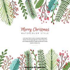 Fundo do Natal com folhas de aquarela