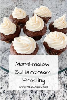 Marshmallow Buttercream Frosting - Terasa Gillen The perfect sweet and creamy buttercream frosting for birthday cakes and cupcakes. This frosting is also very good when used as a fruit dip! Marshmallow Buttercream Frosting Recipe, Ganache Frosting, Frosting Recipes, Cupcake Recipes, Cupcake Cakes, Dessert Recipes, Whipped Frosting, Cupcake Icing, Yummy Recipes