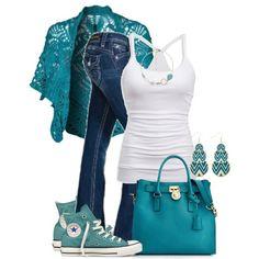 Turquoise Benetton Cardigan & Michael Michael Kors Handbag, Hamilton Saffiano Leather Tote