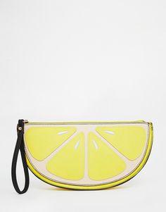 New Look Lemon Zip Top Clutch