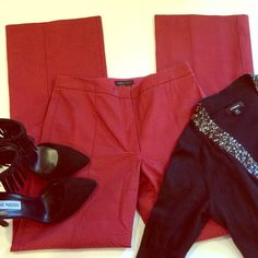 """BCBG MaxAzria red pants These pants are very flattering as they create a beautiful silhouette, hug your hips, then slightly flare at the bottom. Has 9% spandex for a nice stretch. 60% cotton and 31% nylon. Not poppy red or deep red, kind of in the middle red. Great for holiday parties. Inseam 29"""". No stains or rips. Great condition! BCBGMaxAzria Pants Boot Cut & Flare"""