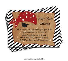 Pirate Birthday Invitation - Child's Birthday Invite - Pirate Themed Invitation