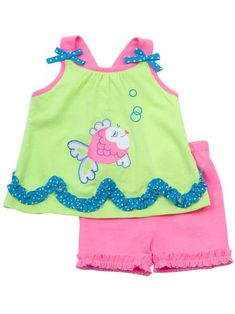 Lime/ Neon Pink Short Set With Fish Applique $26.99