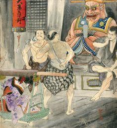 伊藤晴雨画額「籠で運ばれる緊縛娘(仮)」/Seiu Ito