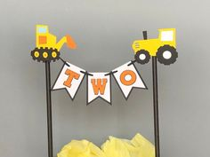 Excited to share the latest addition to my shop: Construction Theme Cake Topper / Construction Theme Cake Bunting Topper / Construction Theme Birthday Party