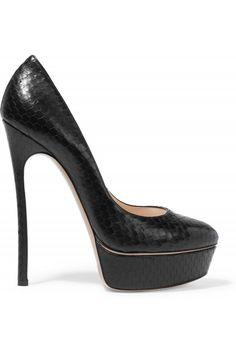 CASADEI Dynopit Snake-Effect Leather Pumps. #casadei #shoes #pumps