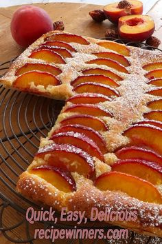 Peach frangipane tart is very quick and easy to make using store bought puff pastry. Golden butter puff pastry layered with frangipanes sweet almond and heady aroma, topped off with ripe summer peaches, lightly dusted with sugar is simplicity itself. Butter Puff Pastry, Puff Pastry Recipes, Tart Recipes, Almond Recipes, Baking Recipes, Dessert Recipes, Galette Des Rois Recipe, Frangipane Tart, Sweet Pie