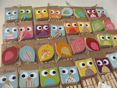 Owl Art Display Clips Green and Blue  by MapleShadeKids on Etsy, $29.00