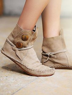 Teaspoon Ankle Moccasin | A boho ankle boot moccasin hybrid, made from soft, supple leather with large decorative copper studs and leather straps that wrap around your ankle. Includes a canvas dust sack. *By One Teaspoon
