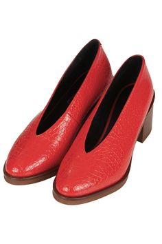 Topshop red textured leather shoe