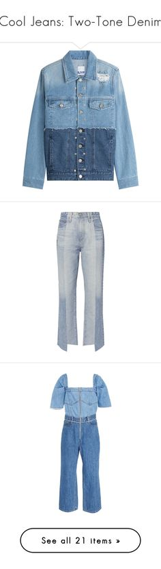 """""""Cool Jeans: Two-Tone Denim"""" by polyvore-editorial ❤ liked on Polyvore featuring denim, outerwear, jackets, coats & jackets, denim jackets, blue, denim jacket, two tone denim jacket, oversized denim jackets and blue cami"""