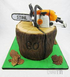 Chainsaw cake for chris grooms cake