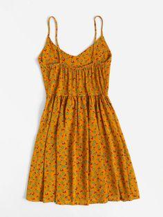 V Neckline Ditsy Print Cami Dress -SheIn(Sheinside) Dress Outfits, Casual Dresses, Short Dresses, Casual Outfits, Fashion Dresses, Summer Dresses, Winter Dresses, Elegant Dresses, Sexy Dresses
