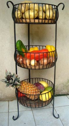 15 Brilliant Fresh Produce Storing & Organizing Ideas To Remove Clutter Tier Basket Iron Furniture, Steel Furniture, Furniture Dolly, Kitchen Organization, Kitchen Storage, Kitchen Dining, Kitchen Decor, Wrought Iron Decor, Kitchen Countertops