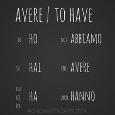 Italian Verb 'To Have'
